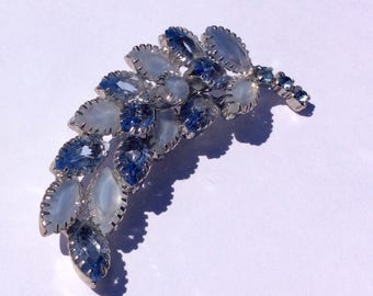 Blue Glass Crystal and Blue Frosted Marquise Leaf Brooch, Light Blue stones, Rhodium Plating , Statement Jewelry, Vintage Pin, Rhinestones