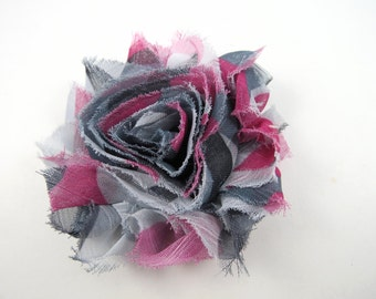 Grey and Pink Shabby Flower Hair Bow - Gray Hair Clip - Pink Flower Hair Clip - Shabby Hair Clip - Infant Toddler Child Teenager Hair Clip