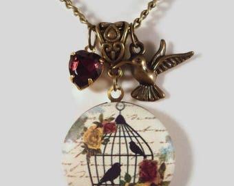Bird Locket Necklace Victorian Inspired Birdcage Photo Locket