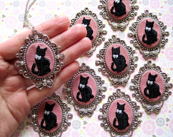 Hand Embroidered Black Kitty Necklace