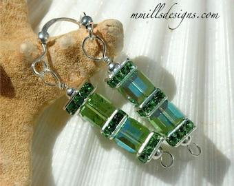 Peridot Swarovski Double Cube Earrings