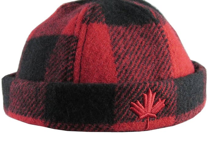 Featured listing image: A Canadian Red Maple Leaf Canada 3D Puff Embroidery on a Red and Black Buffalo Check Beanie Style Winter Fashion Large to X-Large Woolen Hat