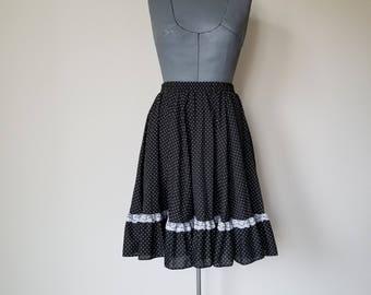 Vintage 1970's Black and White Polka Dot Circle Skirt Square Dance