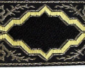 "1 yard 32""  BAROCCO, medium,  rich Jacquard trim in antique gold, mustard on black. 1 1/4"" wide.  2022-A Free shipping"