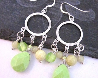 Lime & Silver Jewelry, Lime Dangles, Pale Green Earrings, Lime and Silver Earrings, Women's Beaded Hoop Earrings, Lime Green Bead Earrings