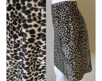VINTAGE 90s Leopard Print Furry Skirt w/ Detachable Wrap Belt High Waisted Faux Fur Spots Animal Wild Club Kid Raver Glam Funky
