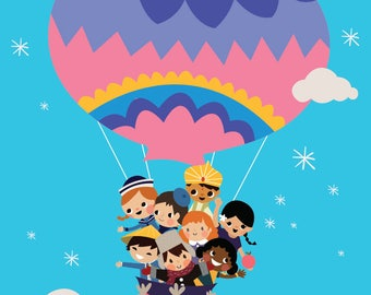 Bright Color It's A Small World Children Balloon Clouds and Stars Custom Front and Back for Book