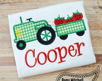 Strawberry Tractor applique embroidery design