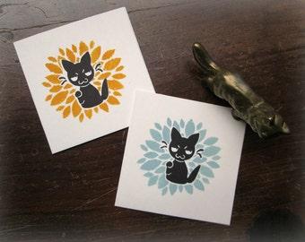 Sneaky Maneki Neko Black Cat Mini Card - Blank Note Card with Envelope