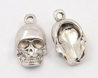 3 Antiqued Tibetan Silver Skull Charms/Pendants