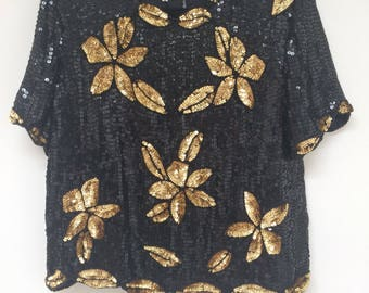 1980s black and gold floral sequin Stenay blouse. Size large. Silk.