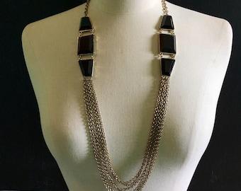 Funky Multi-Chain Black Stone Necklace