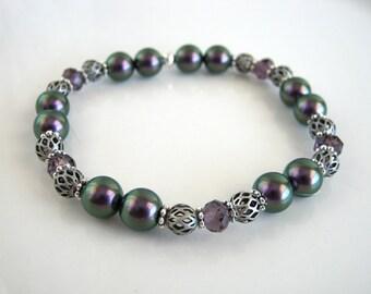 Crystal and Iridescent Purple Pearl Stretch Bracelet Swarovski Purple Pearl Bracelet