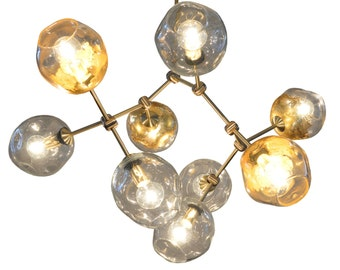 9 Globe Hand Blown Glass Geo-Cluster Gold Leaf Branch Chandelier Hanging Light Sculpture