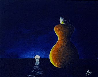 """EMPTY Studio painting (50% deducted) - modern painting on canvas - """"Silhouette 2""""."""