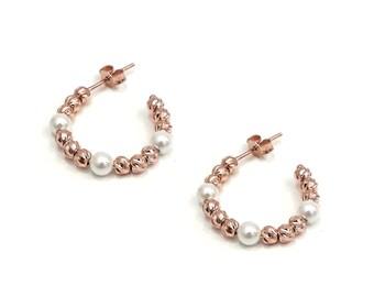Silver Balls & Mallorca Pearls Hoop Stud Earrings, 925 Sterling Silver, Rose Tone, Half Hoop Earrings, Hoop Dangle Earrings, Bohemian, Boho