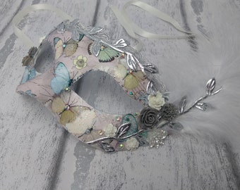 Butterfly mask, masquerade masks, ladies masked ball mask, butterflies, Venetian mask, feather mask, sparkly butterflies, carnival, sparkly