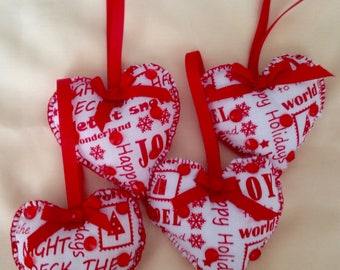 4 Handmade Christmas hearts