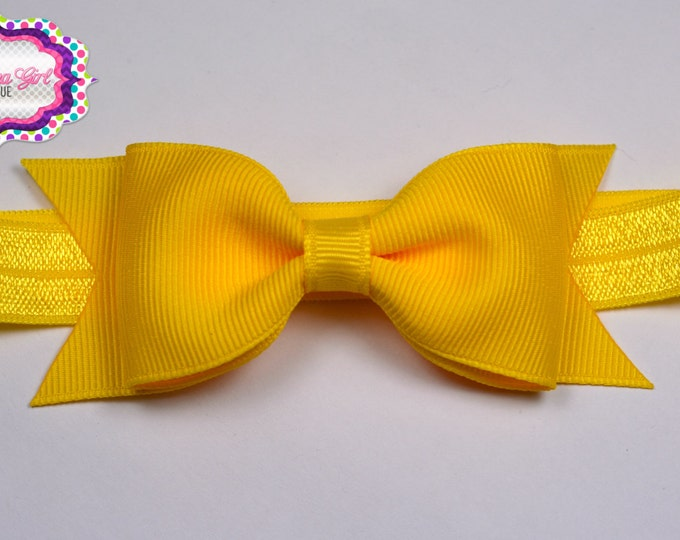 "Yellow Tuxedo Bow Headband ~ 3.5"" Hairbow ~ Small Hair Bow ~ Girls Headband ~ Toddler Bow ~ Baby Hair Bow ~ Hair Clip ~ Girls Hair Bow"