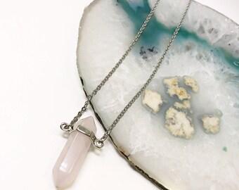 Gemstone Necklace | Rose Quartz Necklace | Bullet Point Necklace | quartz Necklace | Long Crystal Necklace | Boho Necklace | Minimalist