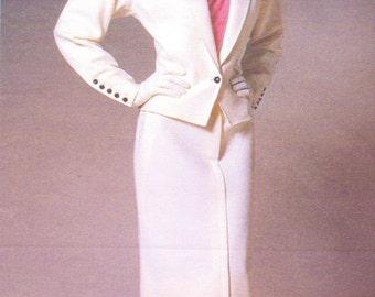 80s Emanuel Ungaro Womens Above Hip Jacket, Straight Skirt & Blouse Vogue Paris Original Sewing Pattern 1766 Size 14 Bust 36 UnCut