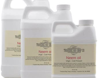 Neem oil  , Virgin - Cold Pressed  16 oz -32 oz- 64 oz Soap making, lotion, creams, bath, beauty, lip balm