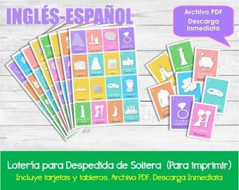 Lotería para Despedida de soltera Inglés-Español, Imprimible. Juego despedida de soltera. Archivo PDF. Printable Spanish Bingo Bridal Shower