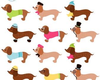 dachshund clip art etsy rh etsy com pet clip art black and white pet clipart black and white