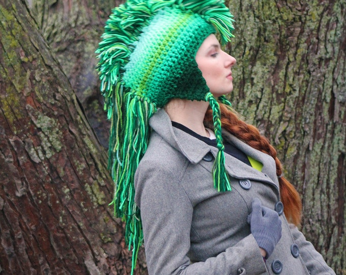 Green Mohawk Hat Ombre Tones Extreme Long Faux Hair Gradient Color Trapper Unisex Earflap Handmade Christmas Gift  Statement Adult