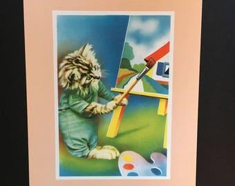 Vtg Print - Cat Artist Painting