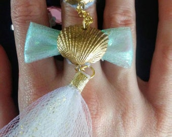 Fairy kei sea shell ring