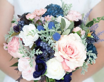Navy Bouquet, Blush and Navy Bouquet, Pink and Navy Bouquet, Silk Bridal Bouquet, Bridal Bouquet, Wedding Flowers, Silk Flower Bouquet