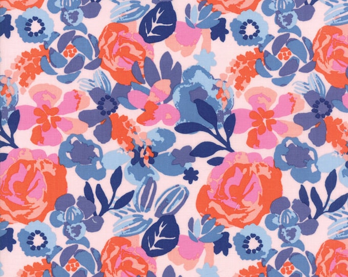 VOYAGE - Kew in Mandarin Orange - Beautiful Blue Green Pink Floral Cotton Quilt Fabric - 27281-12 - Kate Spain for Moda Fabrics (W4489)