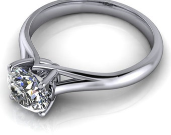 Solitaire engagement ring forever brilliant center gold or platinum moissanite ring custom wedding jewelry