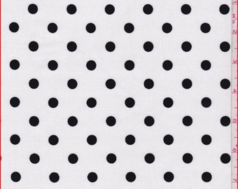 White/Black Polka Dot Stretch Corduroy, Fabric By The Yard