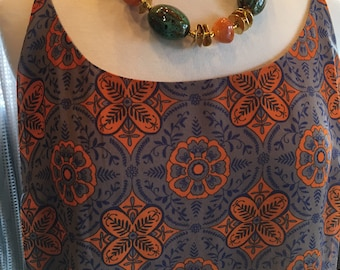 Custom Couture XL Orange Purple and Taupe tile pattern tank top with Chunky Geometric matching necklace 1327