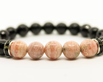 8mm Rhodochrosite Bracelet Onyx Bracelet Womens Beaded Bracelet Bracelet for Women Gemstone Bracelet Beaded Bracelet Stretch bracelet