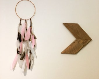 Copper hoop feather dream catcher wall hanging - four colours