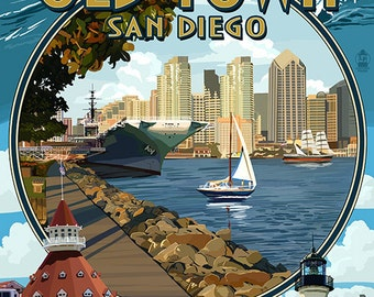 Old Town - San Diego, California - Montage (Art Prints available in multiple sizes)