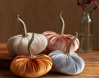 Velvet Pumpkins Set of 4, Fall wedding centerpieces, modern rustic wedding decor, mantle decor, mom gifts for her, best selling item