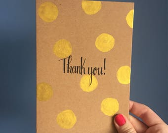 5 Thank you cards- hand painted