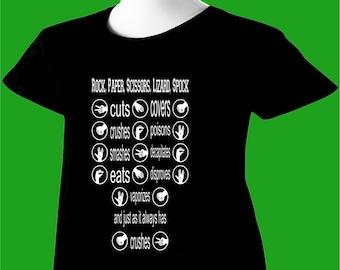 Big Bang Theory T-Shirt Sheldon Cooper Rock Paper Scissors Lizard Spock TBBT V3 Womens