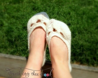 Crochet Womens ballet flat bridal slippers Sizes 5-10 house shoes Custom made to order