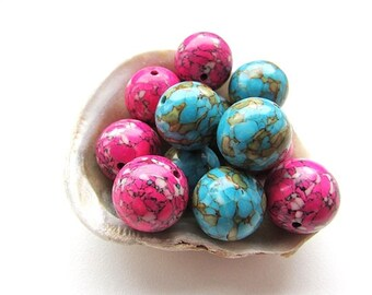 Assorted Mosaic Turquoise Beads 14mm Round Stone Beads Sky Blue Hot Pink Mosaic Turquoise Gemstone Beads Center Drilled (8)