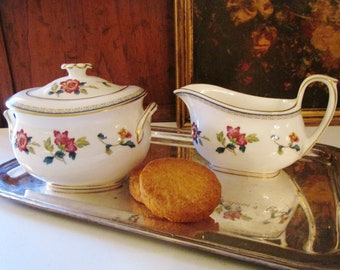Wedgwood Chinese Flowers, Sugar Bowl, Creamer, Chinoisere, Bone China, Colonial Williamsburg Foundation, Mother's Day Tea, English Country