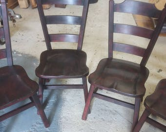 Painted solid oak set of four dining chairs