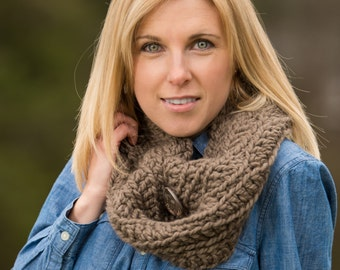 Chunky Button Cowl Scarf - Taupe Brown