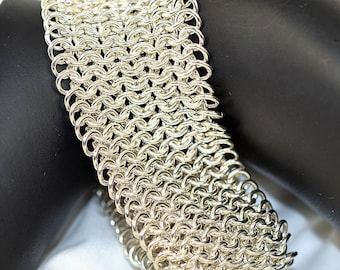 Sterling Silver Cuff Bracelet - Chainmaille - Cuff - Silver - Bold - Statement -  Birthday Gift - Anniversary Gift