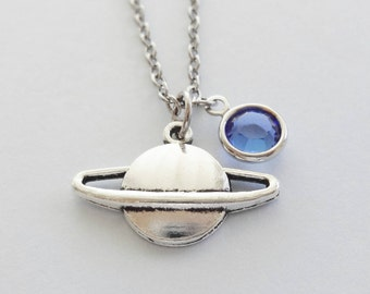 Planet Necklace, Saturn Necklace, Space, Galaxy, Universe Jewelry, Friend, Birthday, Silver Jewelry, Swarovski Birthstone Channel Crystal