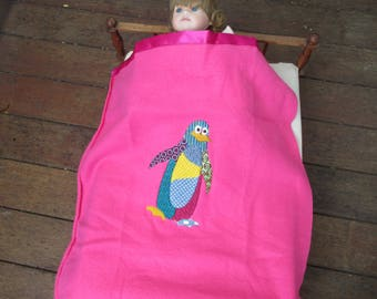 Satin trimmed doll's blanket with embroidered penguin (free postage in Australia)